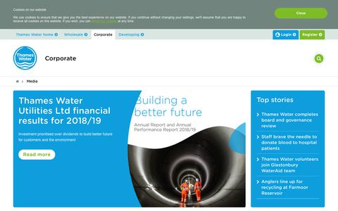 Screenshot of Press Page thameswater.co.uk - Media   Thames Water - captured July 1, 2019