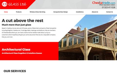 Screenshot of Home Page kbglass.co.uk - Glaziers UK, Glazing Supplies, Window Installation Sussex - captured May 19, 2017