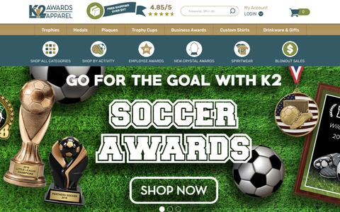 Screenshot of Home Page k2awards.com - Trophies & Awards - Custom Trophies & Personalized Plaques at K2 Awards & Apparel - captured Sept. 20, 2018