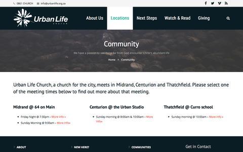 Screenshot of Locations Page urbanlife.org.za - Community - Urban Life Church - captured Dec. 7, 2016