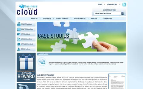 Screenshot of Case Studies Page businessonacloud.com - CASE STUDIES - Business on a Cloud - captured Sept. 30, 2014