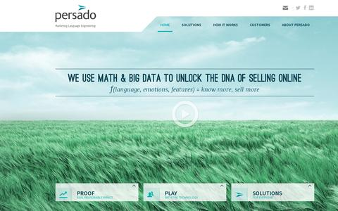 Screenshot of Home Page persado.com - Persado | Global leader in Marketing Language Engineering - captured July 11, 2014