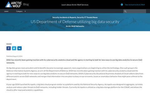 US Department of Defense utilizing big data security
