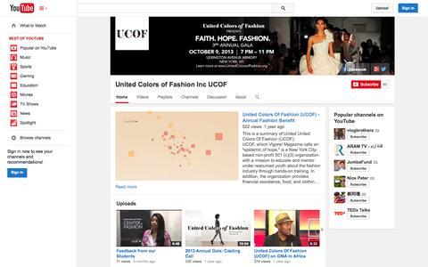 Screenshot of YouTube Page youtube.com - United Colors of Fashion Inc UCOF  - YouTube - captured Oct. 26, 2014