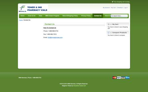 Screenshot of Contact Page mmaservices.com - Contact Us - captured Oct. 3, 2014