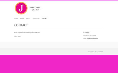 Screenshot of Contact Page joanoneill.com - Joan O'Neill  » CONTACT - captured Oct. 6, 2014