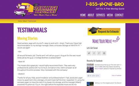 Screenshot of Testimonials Page 2collegebrothers.com - Testimonials | 2 College Brothers - captured Nov. 5, 2014