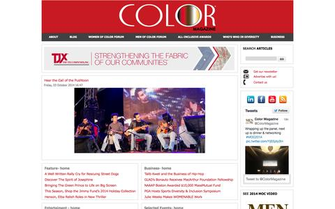 Screenshot of Home Page colormagazineusa.com - Color Magazine - Color Media Group, LLC - captured Oct. 3, 2014