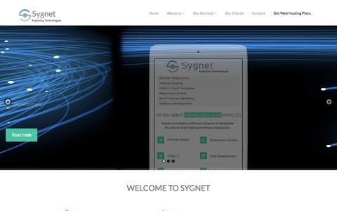 Screenshot of Home Page sygnetinfosol.com - Sygnet - Web Design company in Bangalore|Web hosting in bangalore| software development company in bangalore|BEST WEBSITE DESIGN COMPANY IN BANGALORE| best web hosting in bangalore|Microsoft .NET Development Company in Bangalore| Internet marketing c - captured Oct. 10, 2015