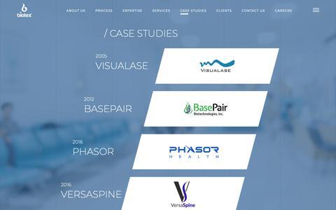 Screenshot of Case Studies Page biotexmedical.com - Biotex Inc - captured Oct. 5, 2018