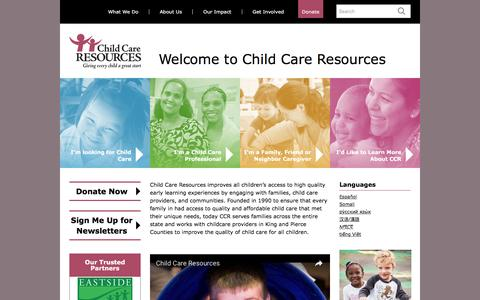 Screenshot of Home Page childcare.org - Child Care Resources - captured Nov. 5, 2016