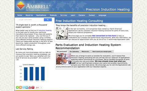 Screenshot of Services Page ambrell.com - Ambrell's Free Parts Evaluation - captured Sept. 19, 2014