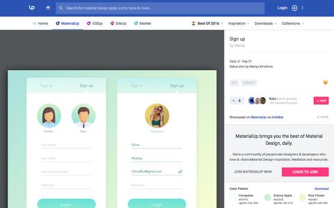 Screenshot of Signup Page uplabs.com - Sign up – MaterialUp - captured Jan. 14, 2017