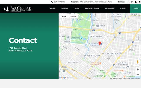 Screenshot of Contact Page fairgroundsracecourse.com - Contact Us & Find Directions | Fair Grounds - captured Oct. 10, 2018
