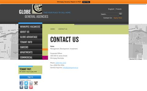 Screenshot of Contact Page globegeneral.ca - Contact Us - Winnipeg Apartments for Rent - captured Oct. 2, 2014