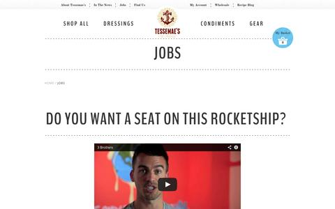 Screenshot of Jobs Page tessemaes.com - Jobs                           | Tessemae's All Natural - captured Sept. 24, 2014