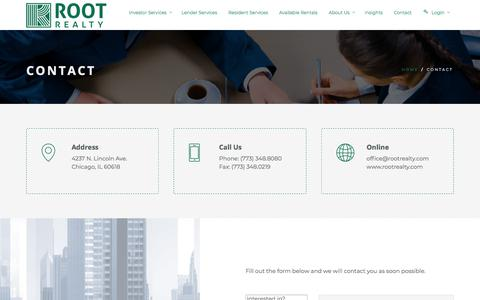 Screenshot of Contact Page rootrealty.com - Contact - Root Realty - captured Sept. 21, 2018
