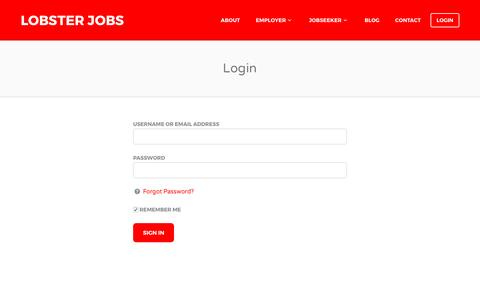 Screenshot of Login Page lobsterjobs.co.uk - Login - Lobster Jobs - captured May 22, 2017