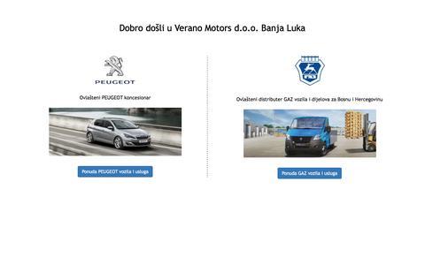 Screenshot of Home Page verano-bih.com - Verano Motors doo Banja Luka - captured Feb. 14, 2016