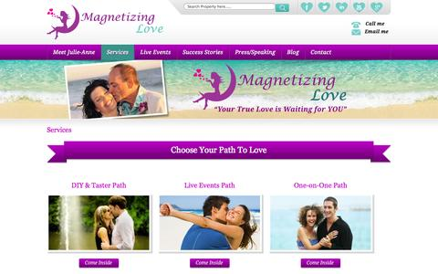 Screenshot of Services Page magnetizinglove.com - Services - Magnetizing your Love - captured Sept. 30, 2014