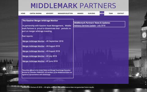 Screenshot of Press Page middlemarkpartners.com - Middlemark Partners | Media - captured Sept. 20, 2018