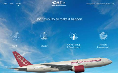 Screenshot of Services Page oai.aero - Services | Omni Air International - captured Oct. 18, 2018