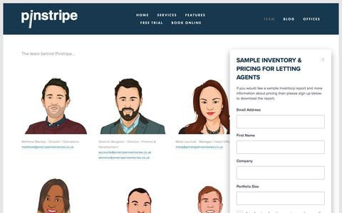 Screenshot of Team Page pinstripe.services - Team — Pinstripe Inventories - captured July 18, 2018