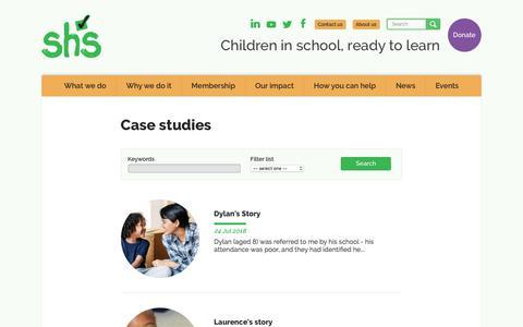 Screenshot of Case Studies Page schoolhomesupport.org.uk - School-Home Support | Case studies - captured July 27, 2018