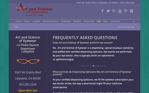 Screenshot of FAQ Page artandscienceofeyewear.com - FAQ - Art and Science of Eyewear - Eye Glasses & Accessories - captured Dec. 26, 2015