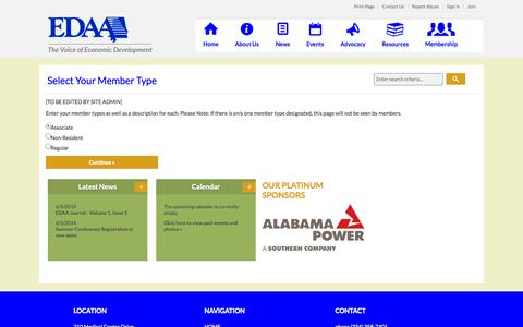 Screenshot of Signup Page site-ym.com - Economic Development Association of Alabama - captured Sept. 18, 2014