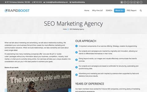 Screenshot of About Page rapidboostmarketing.com - SEO Marketing Agency   SEO Canada - captured Oct. 27, 2014