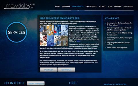 Screenshot of Services Page mawdsleysber.co.uk - Electric Motor Services | Mawdsleys BER - captured Oct. 27, 2014