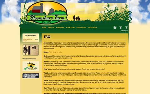 Screenshot of FAQ Page bloomsburyfarm.com - FAQ | Bloomsbury Farm - captured Oct. 5, 2014