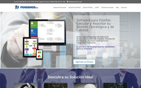 Screenshot of Home Page pensemos.com - Pensemos S.A. Software de Gestión Estratégica. - captured July 20, 2017