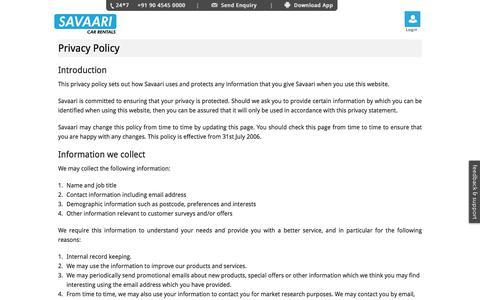 Privacy Policy – Savaari Car Rentals