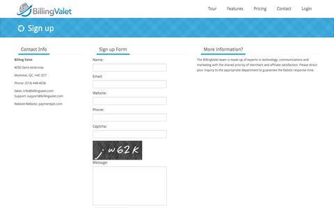 Screenshot of Signup Page billingvalet.com - Billing Valet | Subscription billing made easy - captured March 3, 2016
