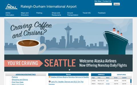 Screenshot of Home Page rdu.com - Home | Raleigh-Durham International Airport - captured Oct. 1, 2015
