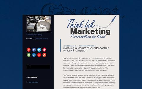 Screenshot of Blog thinkinkmarketing.com - Think Ink Marketing Handwritten Blog | Handwritten Solutions for Direct Mail Success - captured Oct. 9, 2014