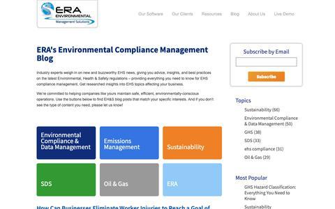 Screenshot of Blog era-environmental.com - Environmental Compliance Management Blog | ERA Environmental - captured Sept. 26, 2018