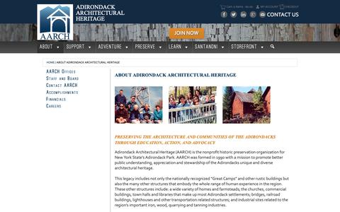 Screenshot of About Page aarch.org - About Adirondack Architectural Heritage - - Adirondack Architectural Heritage - captured Oct. 3, 2018