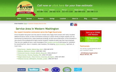 Screenshot of Locations Page arrow-insulation.com - Service Area in Western Washington | Arrow Insulation - captured Sept. 30, 2014