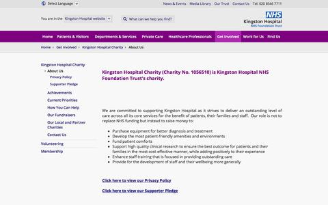 Screenshot of About Page kingstonhospital.nhs.uk - Kingston Hospital | Get Involved  | Kingston Hospital Charity  | About Us - captured Oct. 17, 2017