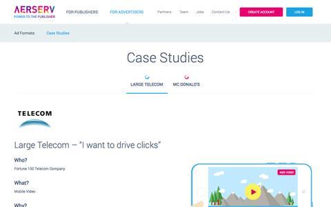 Screenshot of Case Studies Page aerserv.com - Case Studies - AerServ - captured Oct. 29, 2014