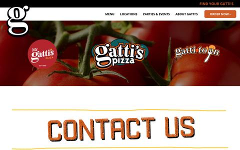 Screenshot of Contact Page gattispizza.com - Gatti's Brands - General Information and Contact - captured Dec. 31, 2016