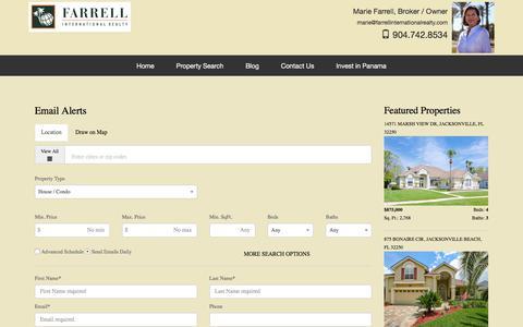 Screenshot of Signup Page farrellinternationalrealty.com captured Aug. 12, 2018