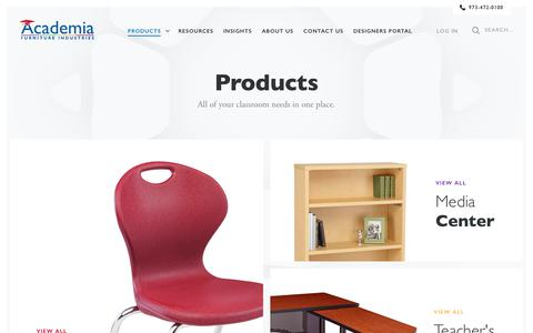 Screenshot of Products Page academiafurniture.com - School Furniture Products  - Academia Furniture - captured July 28, 2018