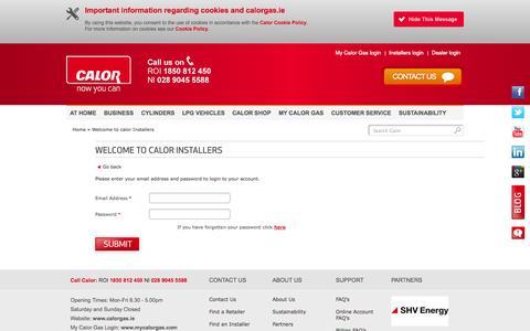 Screenshot of Login Page calorgas.ie - Calor Gas Installers - Login, Gas Installers Ireland   Calor Gas - captured Sept. 27, 2014