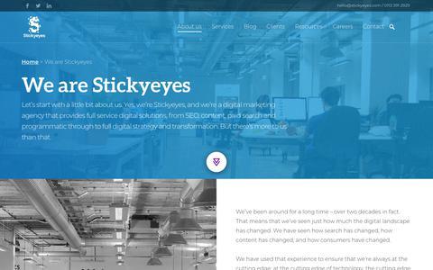 Screenshot of About Page stickyeyes.com - Stickyeyes: Digital Marketing Agency - Leeds & London Based Agency   Stickyeyes - captured Sept. 21, 2018