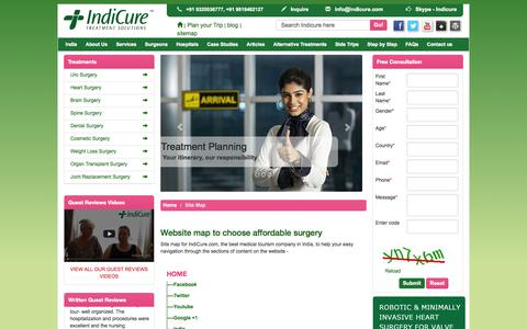 Screenshot of Site Map Page indicure.com - Site Map IndiCure affordable healthcare medical tourism India - captured Sept. 19, 2014