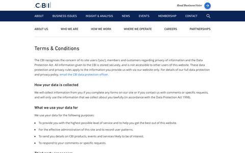 Screenshot of Terms Page cbi.org.uk - Terms & Conditions - CBI - captured Oct. 3, 2016
